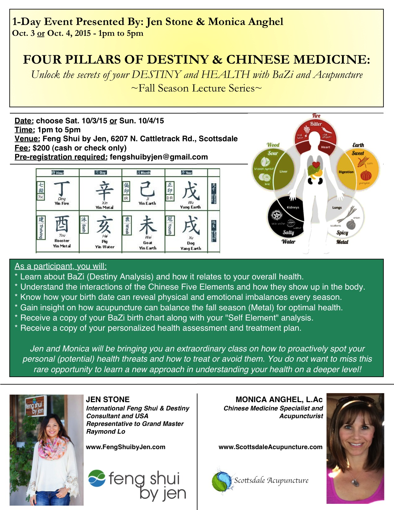 explore your health destiny with four pillars chinese medicine flyer